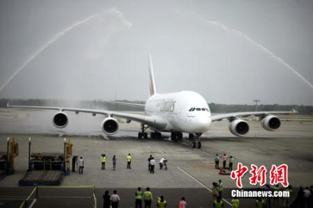 An Emirates Airbus A380 made its China debut over the weekend at Beijing International Airport.