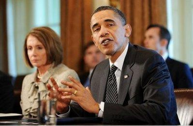 """USPresidentBarackObamaspeaksasSpeakerNancyPelosilooksonduringameetingonfinancialreformintheCabinetRoomattheWhiteHouseinWashington,DC.Obamahaspledgedto""""movequickly""""onpushingfinancialregulatoryreformthroughCongress,settinguphisnextpoliticalbattlewithRepublicans.(AFP/JewelSamad)"""