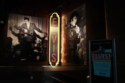 The marquee for the Newseum's upcoming Elvis exhibit is seen at the Newseum in Washington, on Tuesday, March 9, 2010.