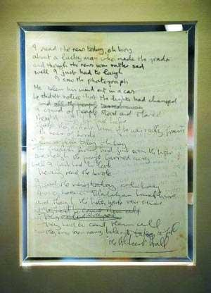 John Lennon's handwritten lyrics