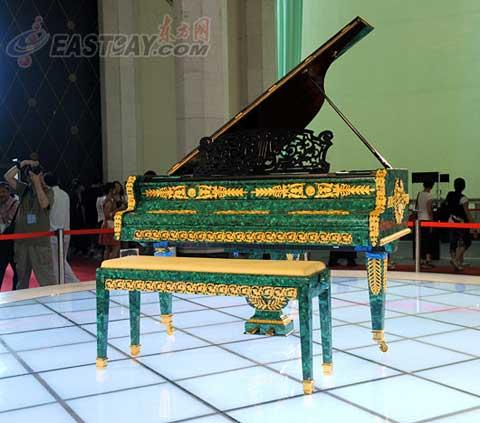 This gem-studded piano was made in 1880 and weighs as much as six hundred kilograms.