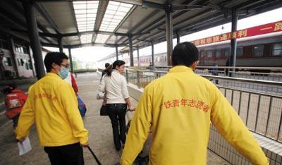 Chine:desbénévolesàl'oeuvreàlagaredeTaiyuan
