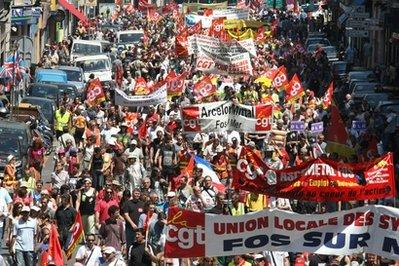 People march during a protest in Marseille, southern France, Thursday June 24, 2010.AP Photo/Claude Paris)