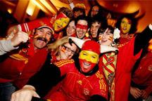 Spanish fans celebrate victory