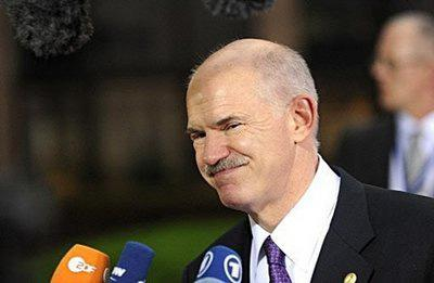 Greek Prime Minister George Papandreou speaks to media at an European Union summit at the European Council headquarters in Brussels. (AFP/John Thys)