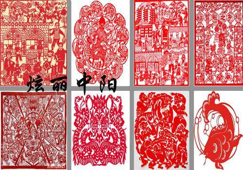 这些服饰上的花纹与现代中阳民间剪纸艺人所剪的花纹是一样的,这也