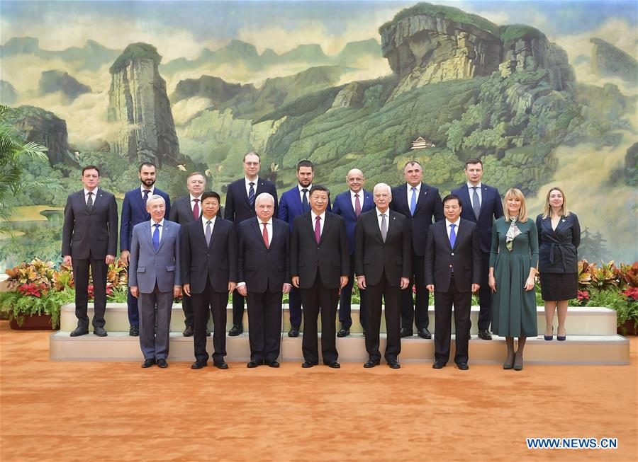 Chinese President Xi Jinping, also general secretary of the Communist Party of China (CPC) Central Committee, meets with a delegation of the United Russia party led by Chairman of the United Russia