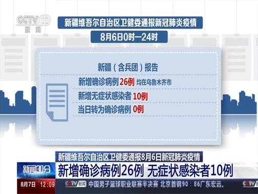 [新闻30分]新疆维吾尔自治区卫健委通报8月6日新冠肺炎疫情 新增确诊病例26例 无症状感染者10例央视网2020年