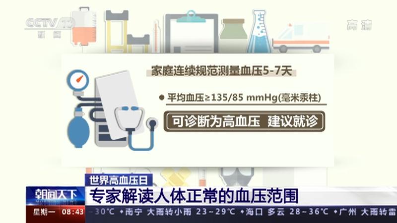 [朝闻天下]世界高血压日 专家解读人体正常的血压范围央视网2021年05月17日09:09