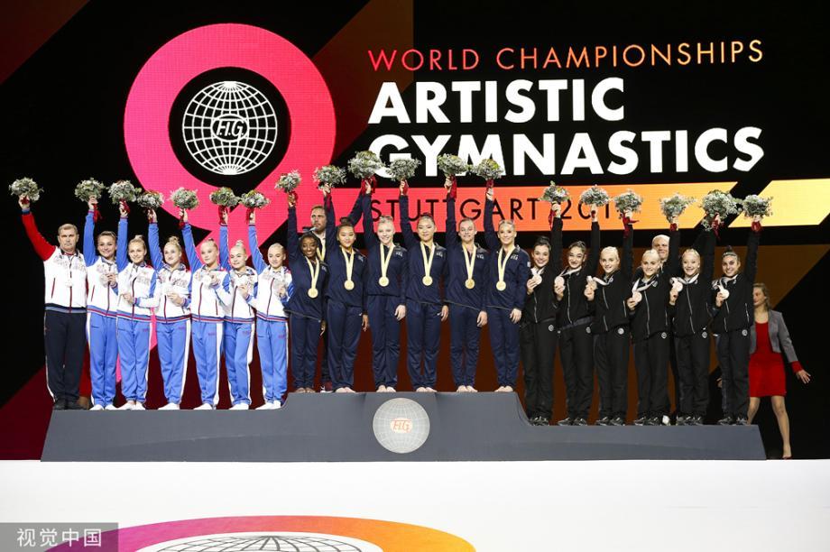 [图]体操世锦赛-中国女队憾失奖牌 美国女队5连冠