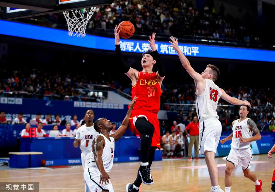 [图]军运会男篮:中国队战胜美国队取得两连胜