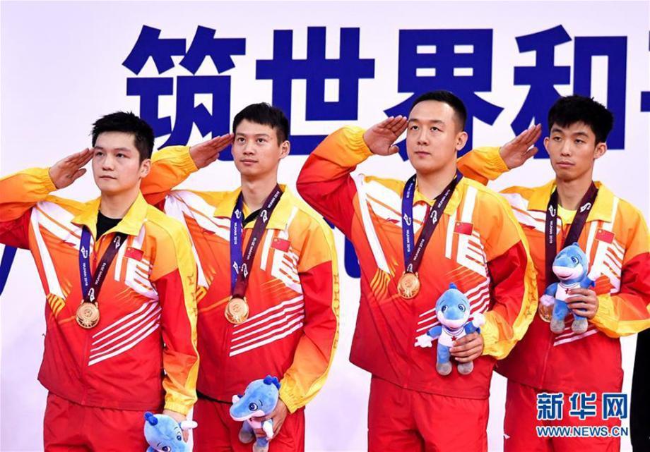 [图]中国3:1胜朝鲜 收获军运会乒乓球首枚金牌