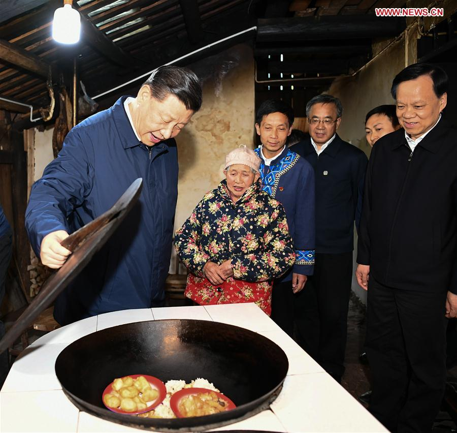 Chinese President Xi Jinping, also general secretary of the Communist Party of China Central Committee and chairman of the Central Military Commission, visits a villager