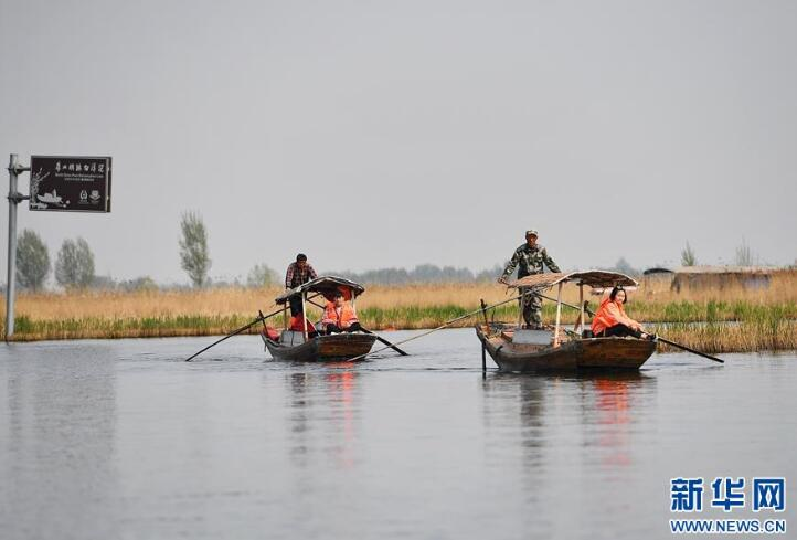 游客在雄安新区安新县白洋淀景区乘船游览(4月10日摄)。新华社记者牟宇摄
