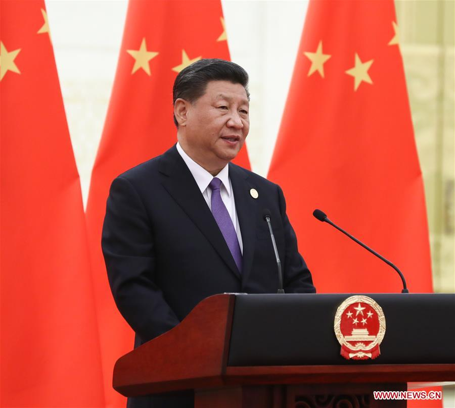 Chinese President Xi Jinping delivers a speech at a banquet in honor of guests who are in Beijing to attend the Conference on Dialogue of Asian Civilizations (CDAC), May 14, 2019. Xi and his wife Peng Liyuan hosted the banquet in Beijing on Tuesday. (Xinhua/Ju Peng)