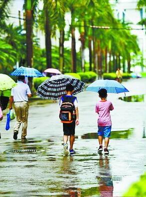 昨日上午,我市各地迎来明显降水,市民冒雨出行。