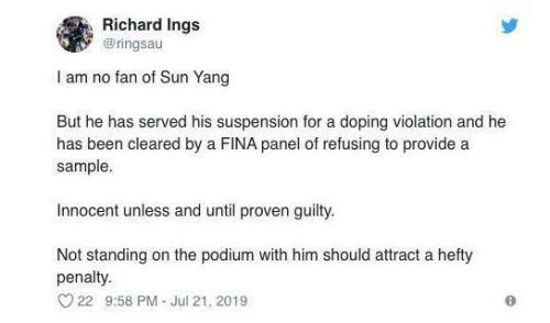 前澳大利亚体育反兴奋剂管理局CEO理查德英格斯表示霍顿应该受到重罚。
