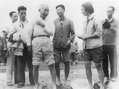 1963年8月,卢永根(左四)随丁颖(左三)考察水稻