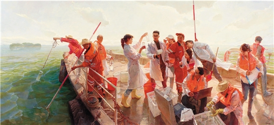商亚东 最美太湖水 230×500cm 油画 2019年