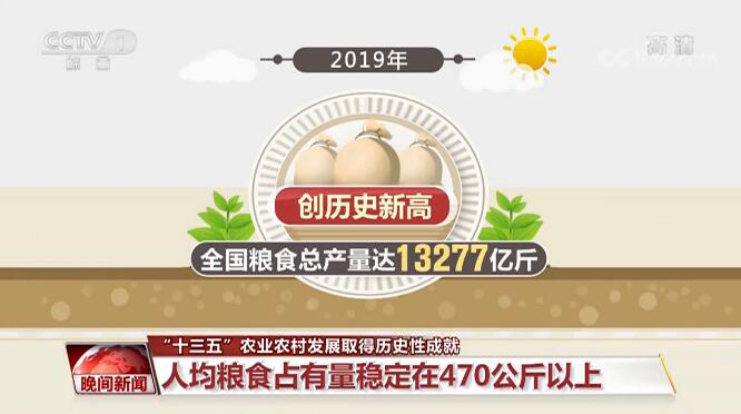 """""""十三五""""期間農業農村發展取得歷史性成就 糧食生產能力提升"""