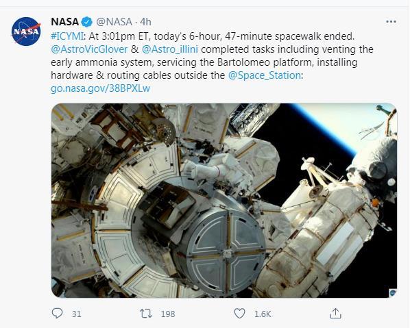 太空行走近7小时!宇航员对国际空间站进行维护