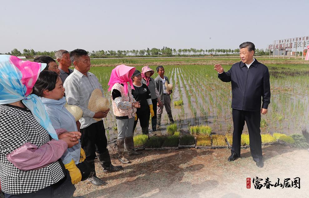 2020年6月9日,习近平在宁夏回族自治区银川市贺兰县稻渔空间乡村生态观光园,同正在劳作的村民亲切交谈。