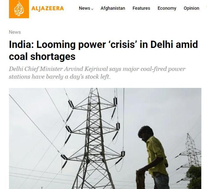 印度新德里面临电力危机。图片来源:半岛电视台新闻网(Aljazeera)报道截图。